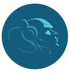 headphones on head icon vector image