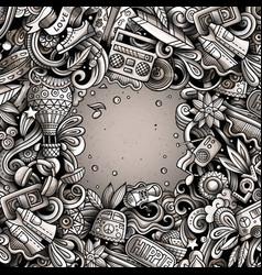 Hippie hand drawn doodles hippy frame card design vector