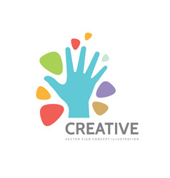 human hand and abstract shapes - business vector image