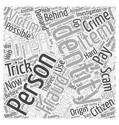 Identity theft scams Word Cloud Concept vector
