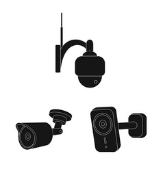 isolated object of cctv and camera logo set of vector image
