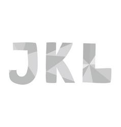 j k l grey alphabet letter set isolated on white vector image
