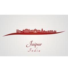 Jaipur skyline in red vector image