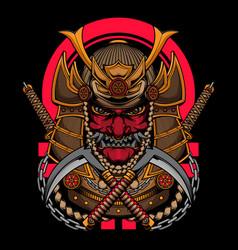 japanese samurai warrior with katana vector image