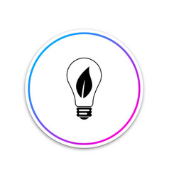 light bulb with leaf icon on white background vector image