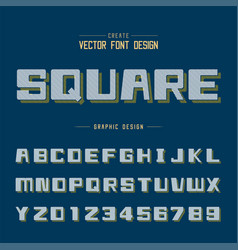 Line bold font shadow and graphic alphabet vector