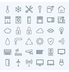 Line Home Technology Icons Set vector image
