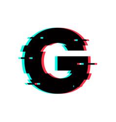 Logo letter g glitch distortion vector