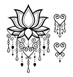 lotus flower yoga design mehndi indian art vector image