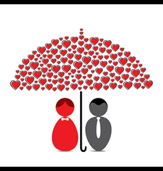 love couple under heart shape umbrella design vector image