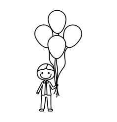 Monochrome contour of caricature of smiling kid vector