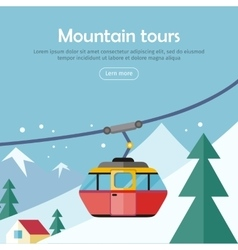 Mountain Tours Concept Banner Funicular Railway vector