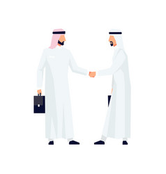 muslim businessmen shake hands vector image