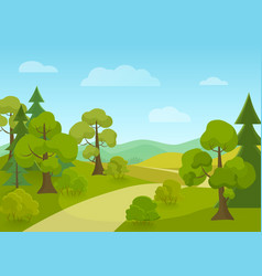 Natural landscape with village road and trees vector