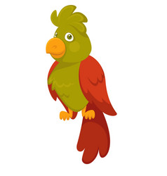 Parrot bird pet cartoon flat icon vector