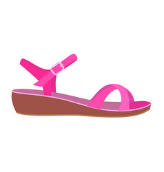 Pink sandal icon flat style vector
