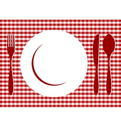 Place Setting red tablecloth vector