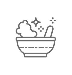potion bowl magic mortar and pestle line icon vector image