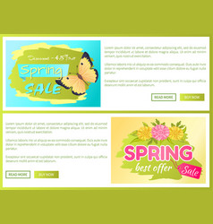Promo offer spring sale advertisement daisy flower vector