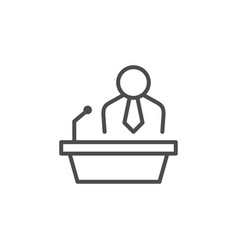 Public speaking line outline icon vector