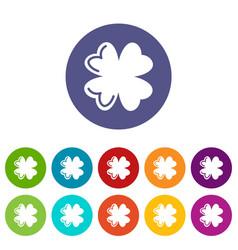 quatrefoil leaf icons set color vector image