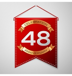 Red pennant with inscription forty eight years vector