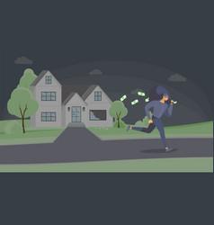 Robber stealing cash flat vector