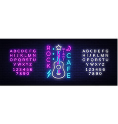 rock cafe logo neon rock cafe neon sign vector image