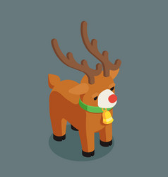 Rudolf christmas deer santa claus helper isometric vector