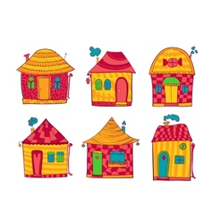 Set colorful houses in cartoon style vector image