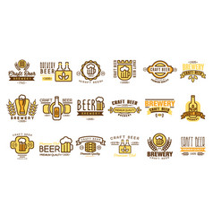 set of vintage beer logos templates vector image