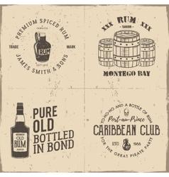 set vintage handcrafted pirates emblems labels vector image