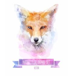 Set watercolor cute fox vector