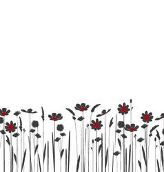 silhouette meadow flowers on a white background vector image