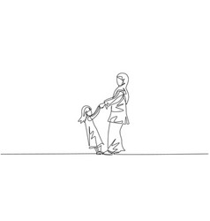single one line drawing young arabian mom vector image