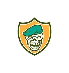 Skull Beret Shield Retro vector