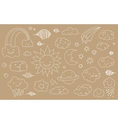 sky doodles line 4 vector image
