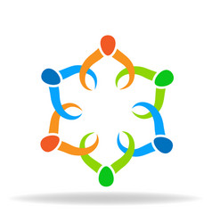 teamwork partners holding hands logo vector image