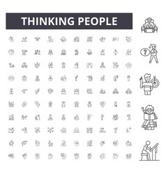 Thinking people line icons signs set vector