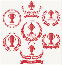 Trophy and awards laurel wreath collection 2 vector