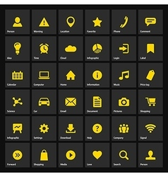 Universal flat yellow web icons set on gray vector image
