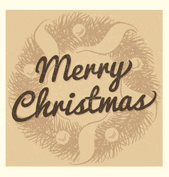 vintage christmas card template with hand drawn vector image