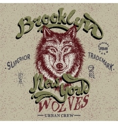Vintage trademark with wolf vector image