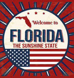 Welcome to florida vintage grunge poster vector