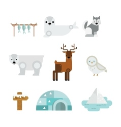 Wild north arctic animals vector