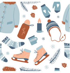 winter activities seamless pattern vector image