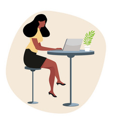 woman with computer concept vector image