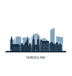 Wroclaw skyline monochrome silhouette vector
