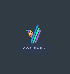 Y letter logo with colorful lines design rainbow vector