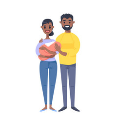 Young black couple with baby hand drawn woman vector